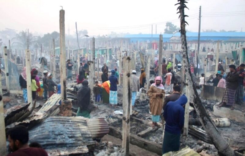 Fire at Bangladesh Rohingya camp leaves thousands without shelter